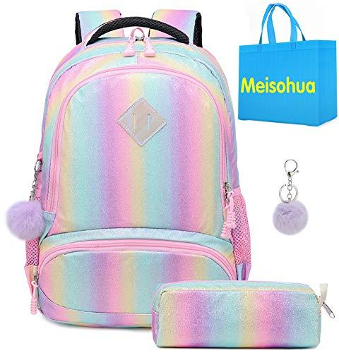 Mädchen Regenbogen Glitzer Rucksack - niedliche Kinderrucksack leichte Reiserucksack schöne lässige Daypack Geschenk für Mädchen (Regenbogen)