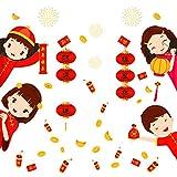 Vinilo adhesivo de pared convencional para el año nuevo chino, electricidad estática, corte de papel, para ventana, cristal