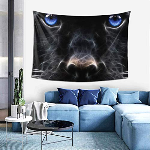Psychedelic Tapestry Fantasy Abstract Art Colorful Blue Eyes Panther Black Wall Hanging for Bedroom Dorm 40 ¡Á 60 Inches