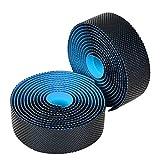 Rosilesi Cintas de dirección de Bicicleta - Cinturón de Manillar de Bicicleta de Carretera Cinta de dirección de absorción de Sudor Suave de Alta Elasticidad(Azul Negro)