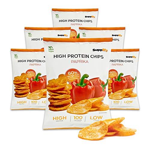 Supplify Protein Chips (paprica) - snack proteico per la dieta o la costruzione muscolare - sgranocchiare con la coscienza pulita (6x50g)
