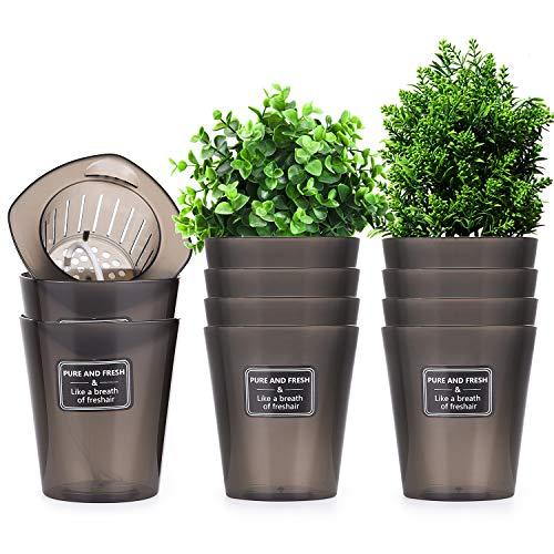Herefun Kräutertopf, 10 Stück Blumentöpfe, Kräutertopf Küche mit Bewässerungssystem, Atmungsaktiver Blumentopf, Selbstwässernder Blumentopf für Kräuter zum Anpflanzen Innen, Küche und Außenbereich