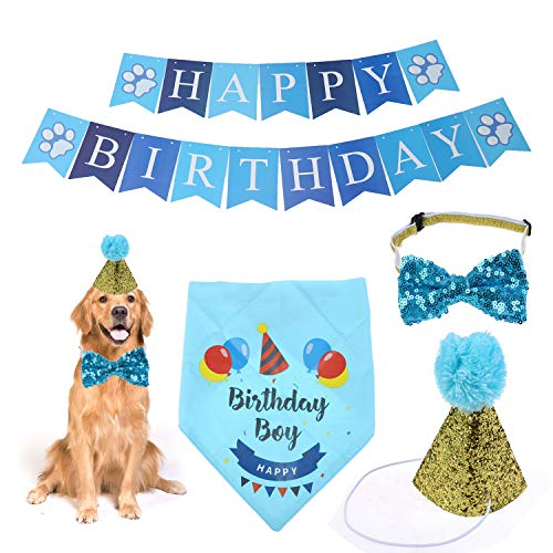 JETTINGBUY Birthday Bandana with Party Hat Bow Tie and Happy Birthday Banner for Boys for Small to Large Doggie Cats Party Decoration (Blue)