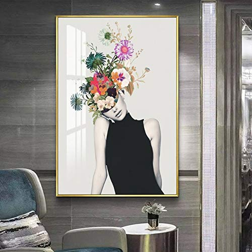Geiqianjiumai Skandinavische Art Wandkunst gedruckt modulares Bild Blumenillustration abstrakte Figur auf Leinwand Poster Wohnkultur rahmenlose Malerei 40x50cm
