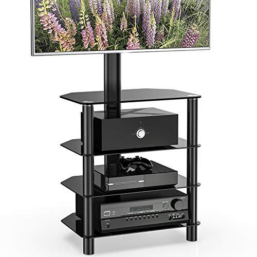 3-stufiger TV-Ständer/Sockel für 32-70-Zoll-Fernseher, Universal-Eck-TV-Bodenständer mit Stauraum, höhenverstellbare TV-Halterung, max. VESA 400x600mmlen aus gehärtetem Glas, max. VESA 400x600mm