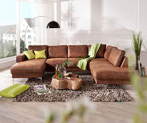 DELIFE Couch Silas Braun Antik Optik 300x200 cm Ottomane Rechts Designer Wohnlandschaft