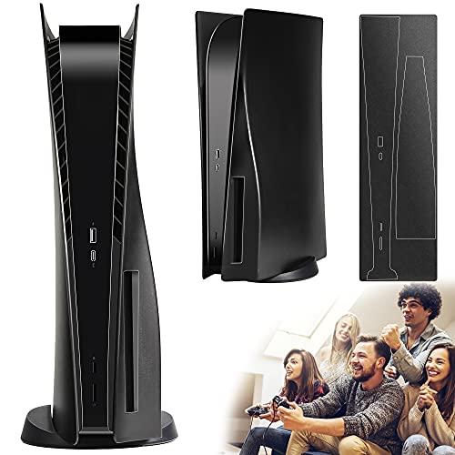 PS5 Schwarze Platten, PS5-Konsolenabdeckung, ABS, kratzfest, hart, stoßfest, Ersatzplatten für PS5, Giveaway schwarzer Konsolenaufkleber, schwarz, Disc-Edition
