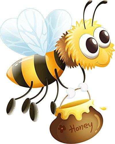 wandmotiv24 Wandsticker Biene mit Honigtopf S - klein 30x35cm Wand-Aufkleber, Sticker, Schrank-Bild, Wandbild WS00000154