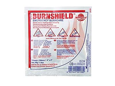 "Burnshield Premium Sterile Emergency Burn Dressing 4""x4"" (10cm x 10cm)""Cools The Burn"" SJA75318 from Burnshield"