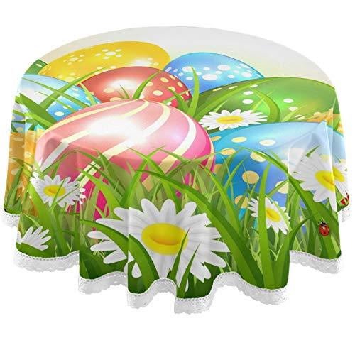 Oarencol Mantel redondo de Pascua con diseño de huevos, flores de hierba, primavera, naturaleza, 150 cm, lavable, poliéster, para mesa de bufet, fiesta, cena, picnic