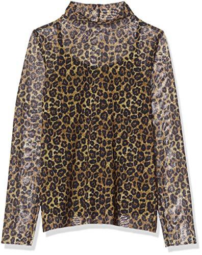 NAME IT Mädchen NKFSANIMAL LS Slim TOP Bluse, Mehrfarbig (Black Black), 158 (Herstellergröße: 158-164)