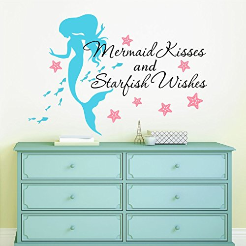 Mermaid Kisses & Starfish Wishes Quote Vinyl Wall Decals, Free 12' Name Decal, 28' W by 20' H, Mermaid Kisses & Starfish Wishes Quotes, Mermaid Decals, Mermaids Decals, Girls Wall Decals