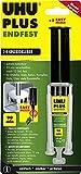 UHU 2-Komponentenkleber Plus Endfest, Glasklarer und höchst belastbarer 2K-Klebstoff mit integriertem Mischer, 15 g
