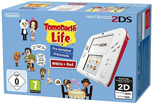 Nintendo 2DS - Konsole (weiß + rot) inkl. Tomodachi Life (vorinstalliert)