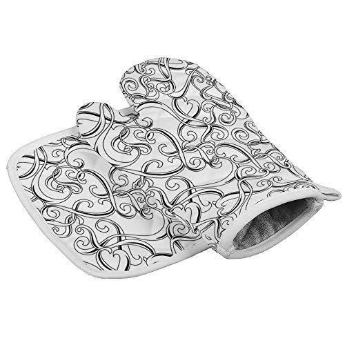 N/R Naadloos Patroon met krullen Vector Beeld Hittebestendige Keuken Oven Mitts en Pot Houders Magnetron Handschoenen voor Bakken Koken BBQ