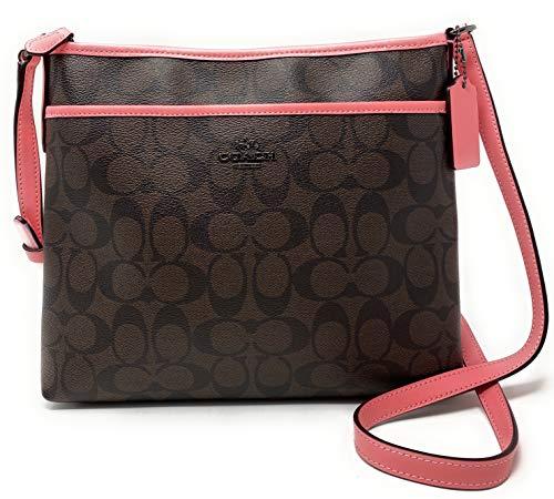 COACH Signature Jacquard Stripe Zip File Bag (QB/Brown Pink Lemonade)
