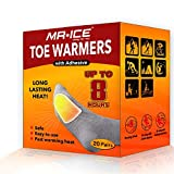 MR.ICE Toe Warmers Heating Pad with Adhesive Backing - Boot Heat Packs - Long Lasting Safe Natural Odorless Air Activated Warmers - Up to 8 Hours of Heat - 20 Pairs Value Packs