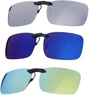 b22abf04b0 VORCOOL 3pcs Gafas de Sol de Clip en Flip Up Lente polarizada sin Marco  Rectangle Lens