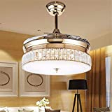 BIGBANBAN Crystal Chandelier Fan with Retractable Blade, Modern Gold Ceiling fans with Lights and Remote, LED Indoor Fan for Dining Room/Bedroom (36 inch)