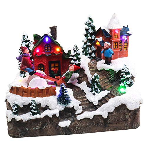 Christmas Village Rocking Seesaw | Animated Pre-lit Winter Snow Town | Perfect Addition to Your Christmas Indoor Decorations & Christmas Village Display