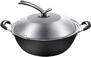 GAOXUQIANG Cast Iron Wok de Hierro sartén Antiadherente Cocinar la Cacerola sin Recubrimiento del hogar Cocina de inducción Wok Paellera,40cm