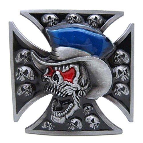 Gothic Punk Maltese Cross Vintage Horseman Prayer Celtic Iron Cross Skull Cowboy Lot Leather Belt Buckle