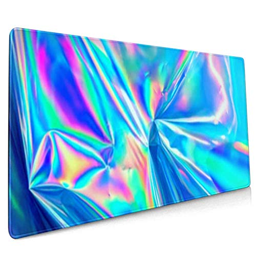 Long Mousepad (35.5x15.8in) Holographic Iridescent Surface Wrinkled Foil Pastel Desk Pad Keyboard Mat, Non-Slip Base, Water-Resistant, for Work & G