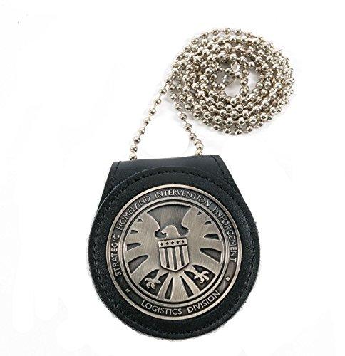 PJX - Insignia de Los Vengadores Agentes del Escudo S.h.i.e.l.d. con soporte de piel y collar de metal