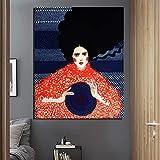 KWzEQ Chica sosteniendo Sombrero Pared Arte Lienzo Cartel Retro Cartel impresión Moderna decoración de la Pared,Pintura sin Marco,60x75cm