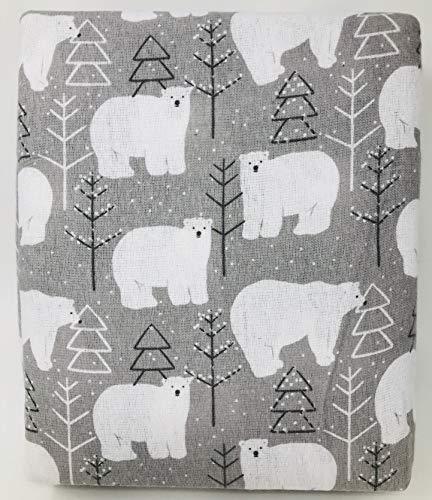 NATE & NAT 3pc Winter Polar Bears Flannel Sheet Set 100% Cotton Grey Girls Boys Kids Bedding Gray (Twin)