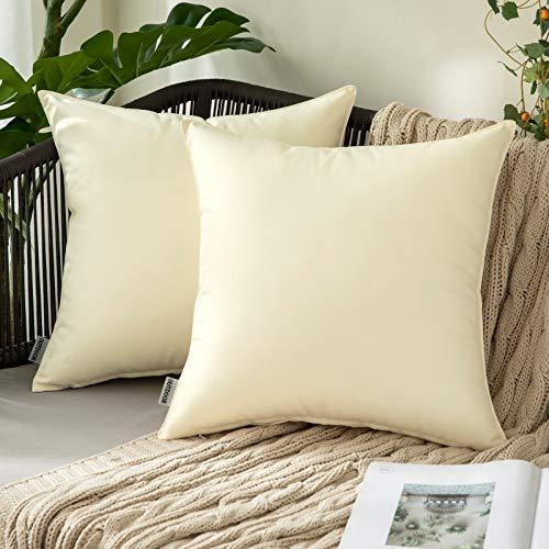 MIULEE 2 Stück Dekorative Outdoor wasserdichte Kissenbezüge Garten Kissen Sham Throw Kissenbezug Shell für Terrasse Zelt Couch 40,6 x 40,6 cm beige