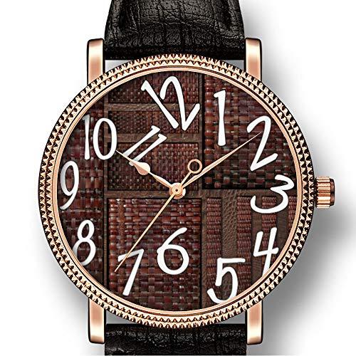 Persoonlijkheid Kunst mannen Goldtone Horloge Quartz Lederen Casual Horloge-203.Huiden, Leer Bruin Mand Weave Print