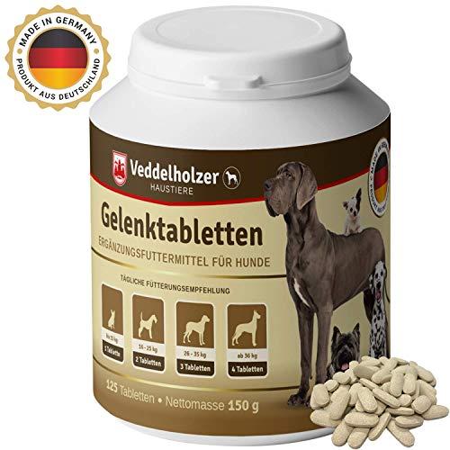 Veddelholzer Hunde Gelenktabletten | Maximale Wirkstoff-Dosis perfekt zusammengestellt mit Grünlippmuschel MSM & Teufelskralle Glucosamin & Kollagen Stärkung von Gelenken Knochen & Knorpel 125 Kapseln