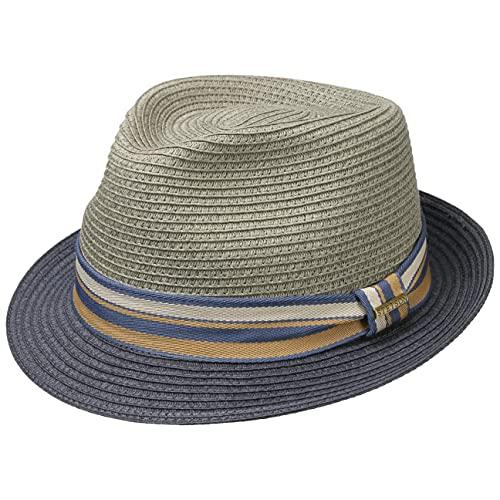 Stetson Sombrero de Paja Licano Toyo Trilby Hombre - Playa Sol con Banda Grosgrain Primavera/Verano - XXL (62-63 cm) Azul Oscuro