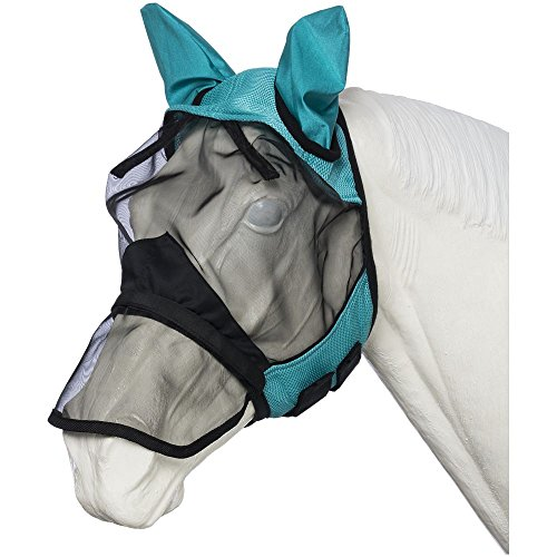 Tough-1 Deluxe Comfort Mesh Fly Mask w/Mesh Nose Turq Horse