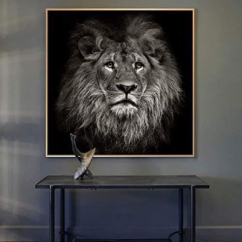 Pinturas en lienzo Refosian Arte de la pared León Africano Carteles e impresiones en blanco y negro Animales Cuadros en lienzo para sala de estar 50x50cm Sin marco
