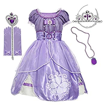 aibeiboutique Girls  Princess Dress up Costume Cosplay Fancy Party Clothes with Tiara Wand Gloves