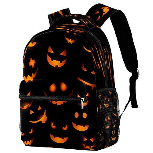 Mochila de Halloween con caras de calabaza brillantes para la escuela, bolsa de libros, mochila informal para viajes, motivo 1 (Multicolor) - bbackpacks004