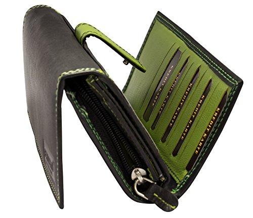 Damen Geldbörse Leder Lang mit viele Kreditkarten (Beidseitig bedienbar) Fächer Frauen Portemonnaie Portmonee Echtleder Geldtasche Brieftasche Franko BB11 (Schwarz Grün)