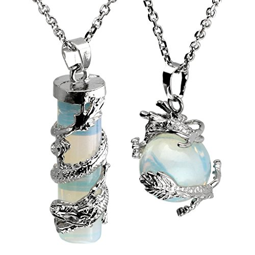 Jovivi Dragon Wrapped Opalite Round Ball Cylinder Gemstone Crystal Pendant Necklace Gifts Set, with Gift Box