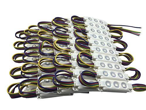 YXH LED módulo 12V RGB 100Pcs Kit de módulo de inyección rectangular para DIY, Iluminación LED Letras Firmar Cartelera luz, interior y exterior Impermeable (20 piezas/cadena)