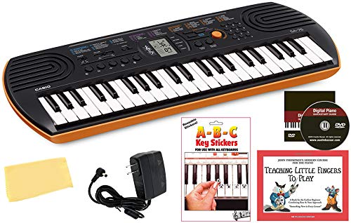 Casio SA-76 - Mini teclado con fuente de alimentación, pegatinas extraíbles, libro Instruccional, DVD de Austin Bazaar y paño de pulido