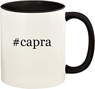 #capra - 11oz Hashtag Ceramic Colored Handle and Inside Coffee Mug Cup, Black