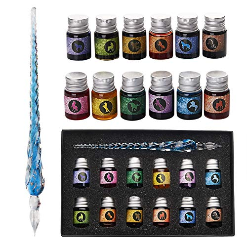 Glass Dip Pen Ink Set- Crystal Pen with 12 Colorful Inks for Art