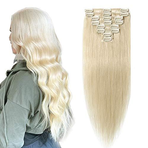SEGO Clip in Hair Extension Cheveux Naturel Humain Meche Remy - 40 CM 60#Blond Platine - [Mini Volume] Lisse Raide 100% Human Hair