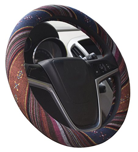Istn Large Ethnic Style Coarse Flax Cloth Automotive Steering Wheel Cover Anti...