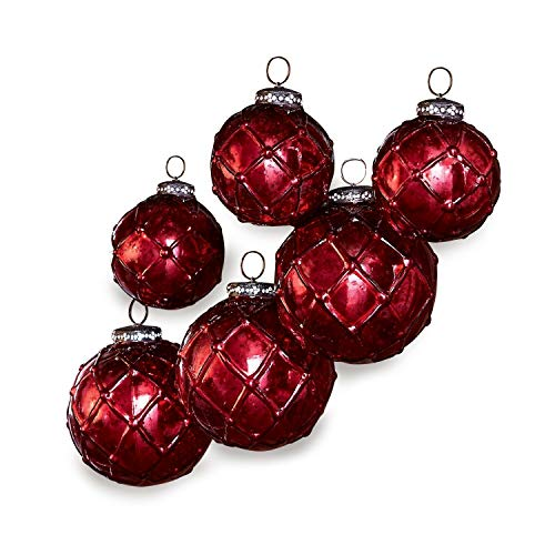 Loberon Weihnachtsschmuck 6er Set Roubi, Weihnachtskugeln, Glas, Eisen, rot