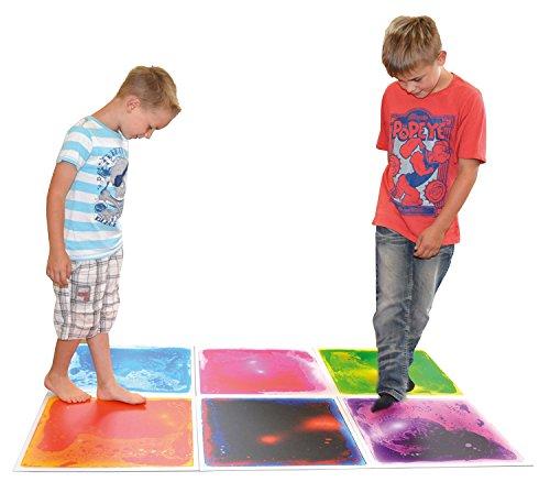 Art3d 6 azulejos Sensory Room Tile Multi-Color Ejercicio Mat Líquido Encased Floor Playmat Kids Play Floor Tile, 16 pies cuadrados