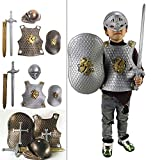 NNA Childs Knight Armor Gladiator Soldier 4 Pc Costume Set Roman Gladiator Costume Set for Halloween Audacious Dress Up Party (Silver)