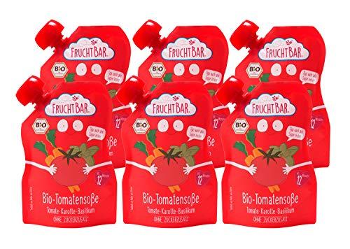 FruchtBar Bio Tomatensoße Tomate-Apfel-Karotte-Basilikum, Crème fraiche, 6x190g